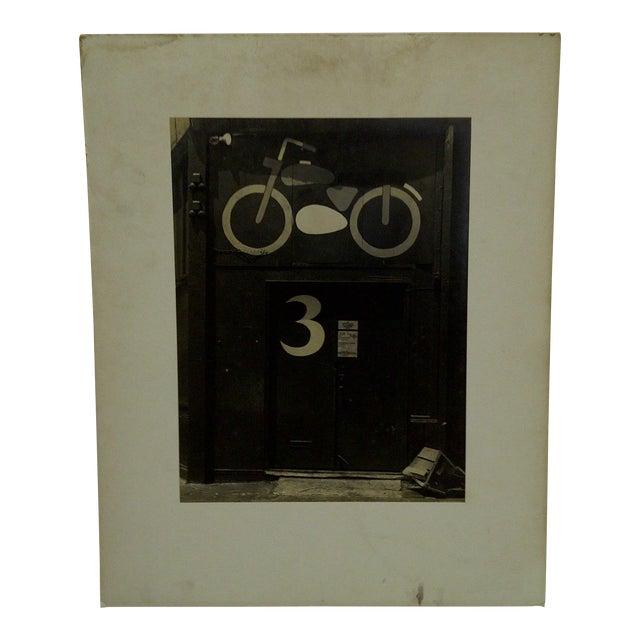"Circa 1950 Vintage ""Motorcycle Door"" Black & White Photograph For Sale"