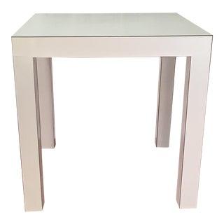 Vintage White Matte Laminate Parsons Table For Sale