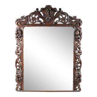 Antique Baroque Carved Oak Over Mantel Mirror For Sale