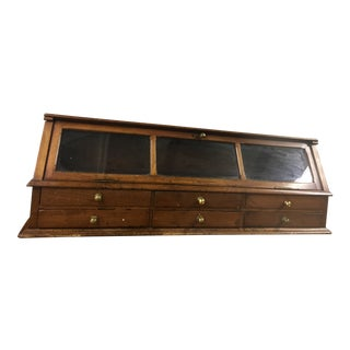 Antique Wood Glass Store Display Box Drawers For Sale
