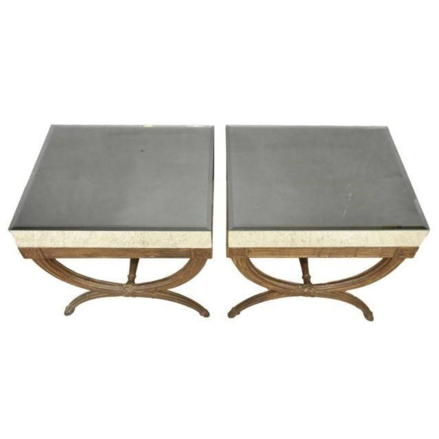 Continental Directoire Curule Mirrored Side Tables - a Pair For Sale - Image 4 of 9