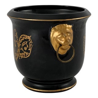 Vintage Black and Gold Cachepot Lion's Head Handles For Sale