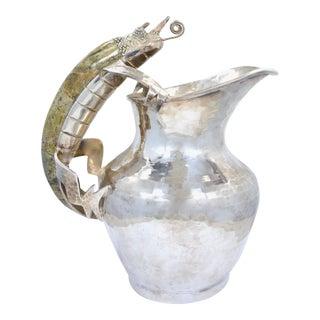 Los Castillo Handwrought Silverplate Iguana Pitcher For Sale