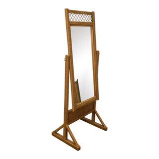Vintage Henry Link for Lexington Furniture Woven Wicker Full Length Mirror For Sale