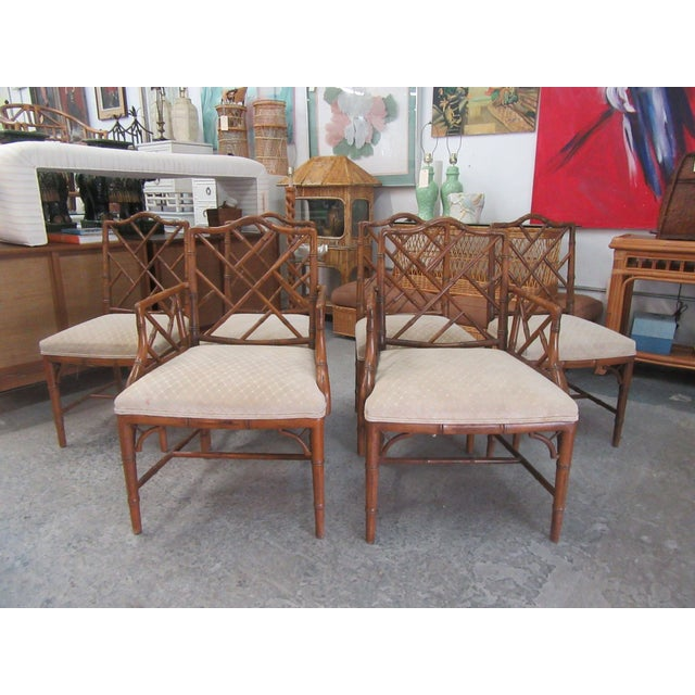 Wood Faux Bamboo Chippendale Century Chairs- Set of 6 For Sale - Image 7 of 8