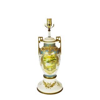 Vintage Japanese Nippon Moriage Gilt Urn Shaped Vase Lamp For Sale