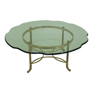 Labarge Round Scalloped Glass Top Brass Base Coffee Table For Sale