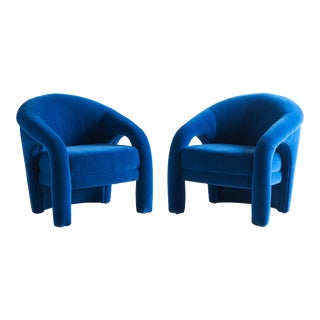 Pair of Sculptural Lounge Chairs in the Style of Vladimir Kagan For Sale