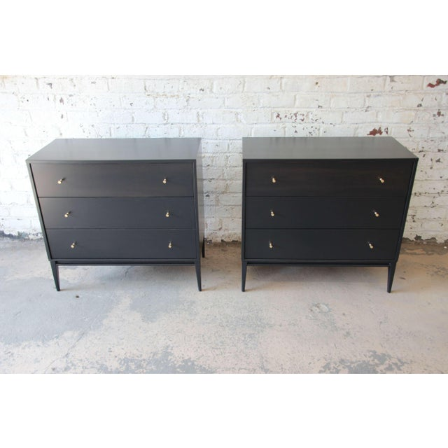 Mid-Century Modern Paul McCobb Planner Group Ebonized Three Drawer Bachelor Chests or Large Nightstands, Pair For Sale - Image 3 of 11