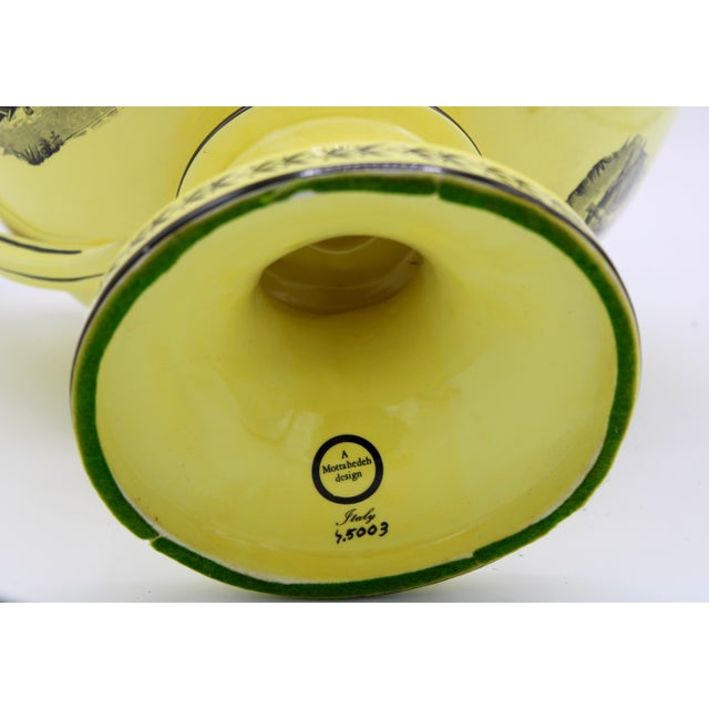 Large Mid 20th Century Italian Mottahedeh Yellow Handled Urn With Artichoke Lid For Sale - Image 12 of 13
