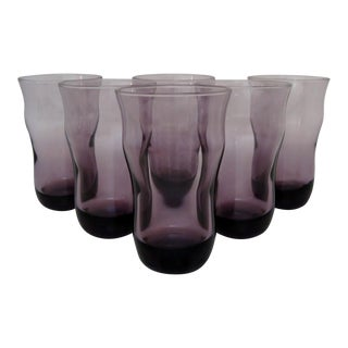 Crisa Purple Glass Tumblers - Set of 6 For Sale