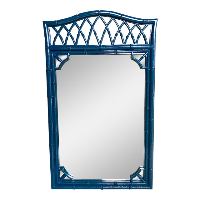 Thomasville Faux Bamboo High Gloss Sapphire Blue Mirror For Sale