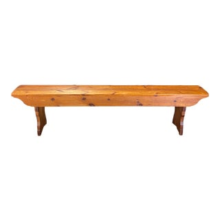 British Long Scrubbed Pine Antique School Bench For Sale
