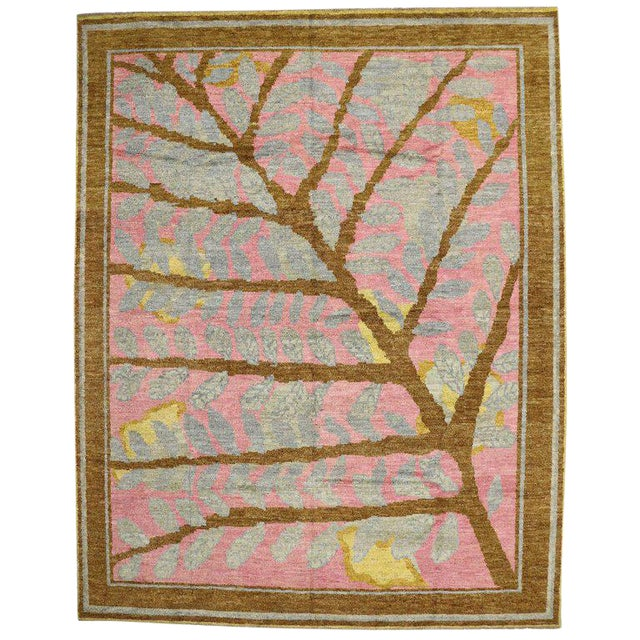 Contemporary Moroccan Area Rug with Tree and Leaves For Sale