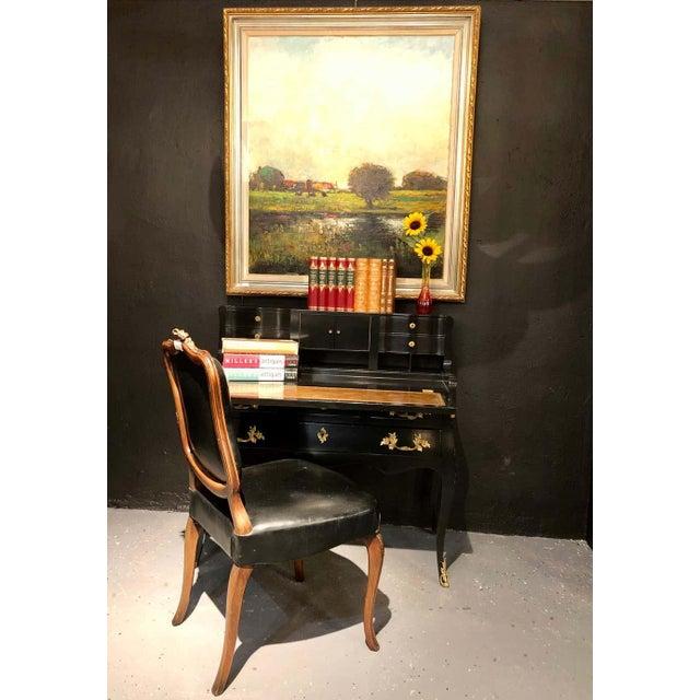 Hollywood Regency Ebony Ladies Desk Louis XV Style Stamped Jansen For Sale - Image 11 of 13