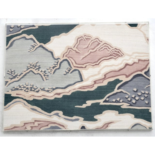 Mid Century Modern Japanese Painted Raw Silk Art For Sale - Image 4 of 4