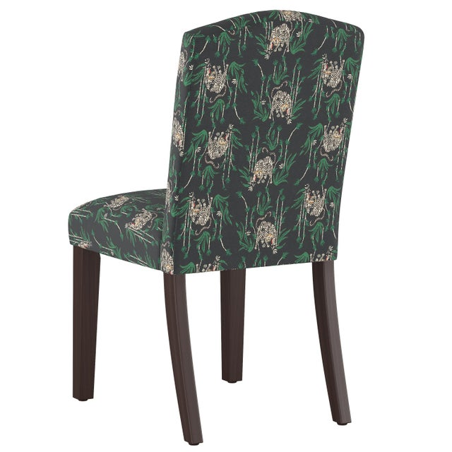 Contemporary Camel Back Dining Chair in Tiger Bamboo Ink Oga For Sale - Image 3 of 7