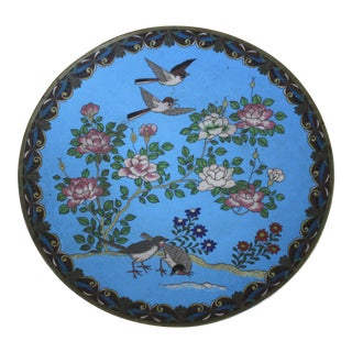 Antique Japanese Meiji Period Cloisonné Charger Plate For Sale