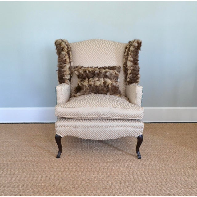 Animal Skin Silk & Fur Teal & Champagne Wingback Chair For Sale - Image 7 of 9