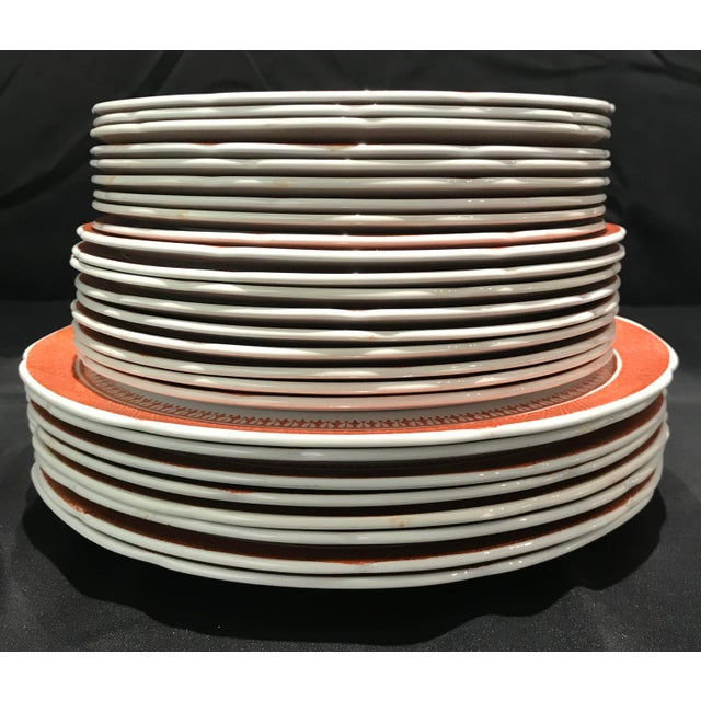 Orange 1950s Coral Copeland Spode Fitzhugh Plates 3 Piece Service for 8 - Set of 26 For Sale - Image 8 of 12