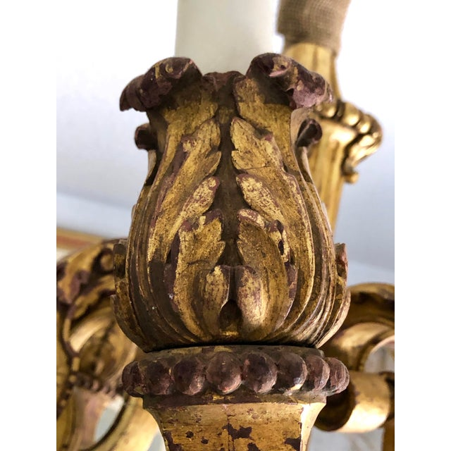 Mid 19th Century Italian Carved Gilt Wood Chandelier For Sale - Image 9 of 13