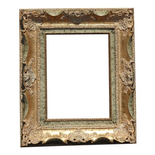 Vintage French Provincial Ornate Rococo Gold Green Picture Frame For Sale