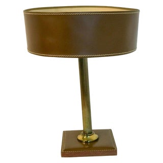 Stitched Leather and Brass Column Table Lamp, by Jacques Adnet For Sale