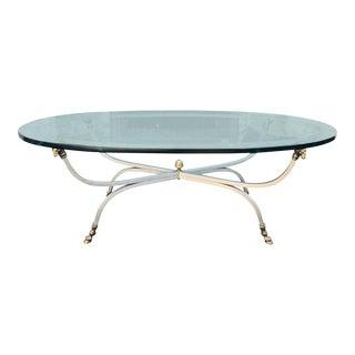 Maison Jansen Ram's Head Hoof Foot Steel & Bronze Coffee Table For Sale
