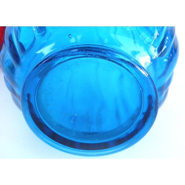 Mid 20th Century Overscale Mid-Century Modern l.e. Smith Blue Blown Glass Vase For Sale - Image 5 of 5