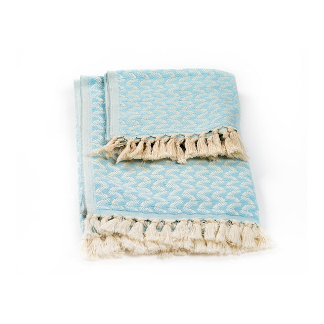 Silent Ripple Handmade Organic Cotton Hand Towel in Powder Blue For Sale - Image 4 of 5