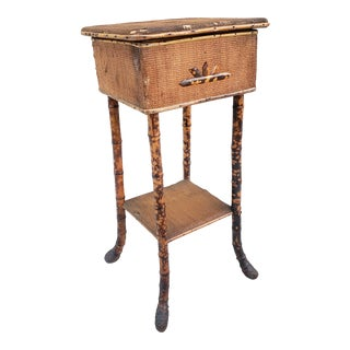 Antique Bamboo Sewing or Side Table For Sale