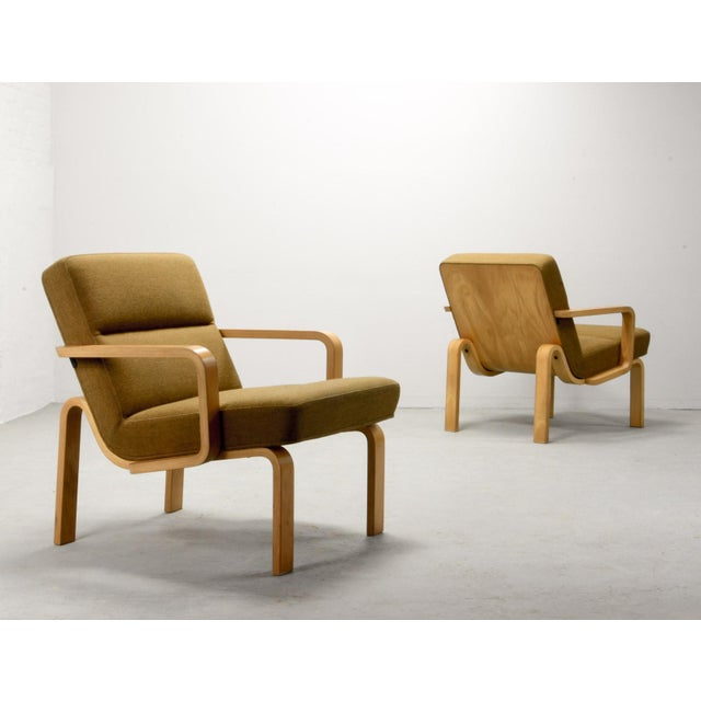 1970s Mid-Century Danish Plywood and Mustard Fabric Lounge Chairs by Rud Thygesen for Magnus Olesen, 1970s For Sale - Image 5 of 12