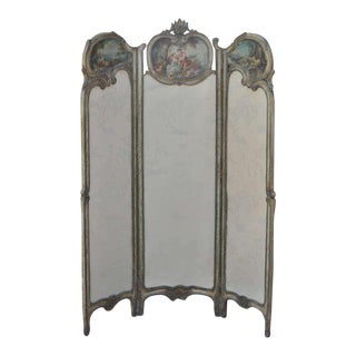 19th Century French Louis XV Style Hand Painted & Carved Petite Dressing Screen For Sale