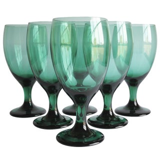 Vintage Green Glasses, Set of 6