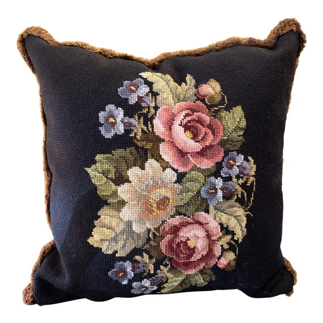 Vintage Needlepoint Floral Pillow For Sale