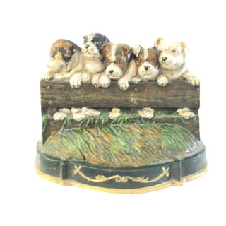English Cast Iron Puppy Door Stop For Sale