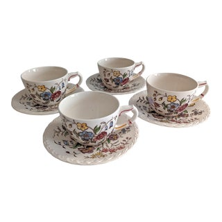 1950s Mayflower Pattern Hand Painted Tea Cup & Saucer Set by Vernon Kilns - 8 Piece Set For Sale