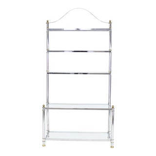 Chrome Brass Glass Mid-Century Modern Bakers Rack Étagère