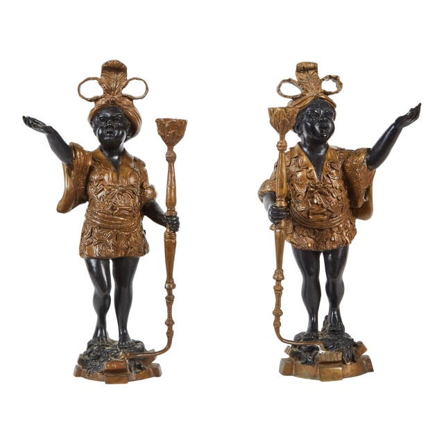 Pair of 19th Century Female Patinated Bronze Blackamoors For Sale