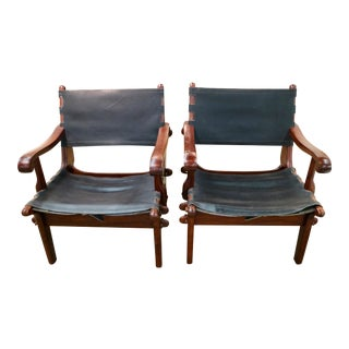 Rosewood Arm Chairs With Leather Back & Seat For Sale