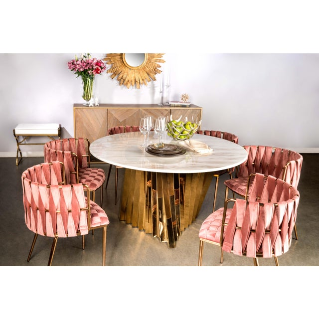 Milano Dining Chair in Rose and Gold For Sale - Image 4 of 5