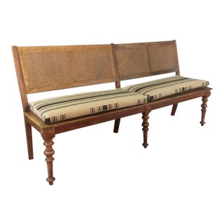 C1915 Beechwood Long Bench With French Caning, Linen Covers