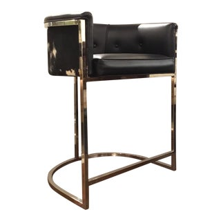 Arteriors Modern Calvin Hair on Hide Black Leather and Nickel Counter Stool For Sale