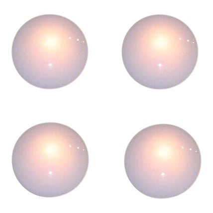 White Glass Disc Wall Sconces - Set of 4 For Sale