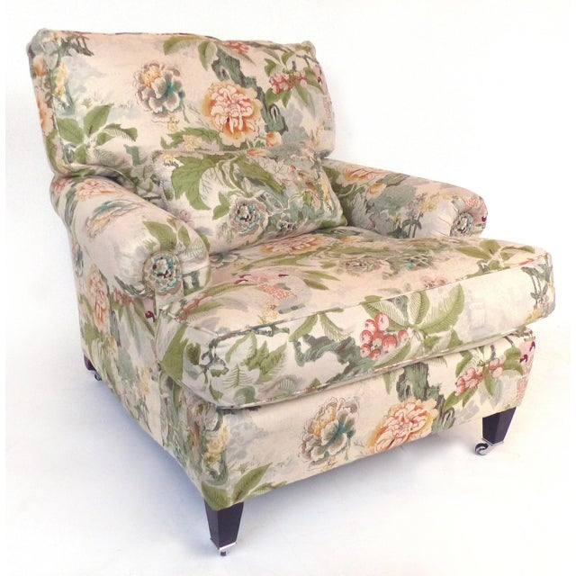 Overscale Pair of Chinoiserie Upholstered Club Chairs With Down Cushions For Sale - Image 4 of 12