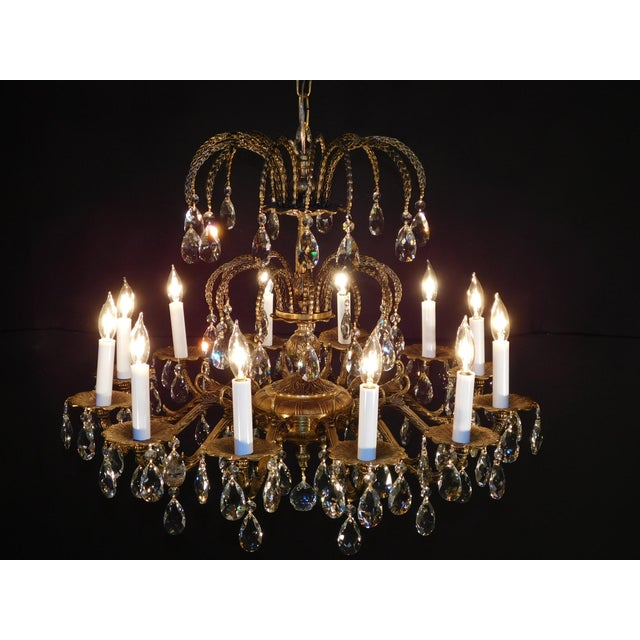 Antique French Brass Cut Lead Crystal Chandelier For Sale - Image 10 of 13