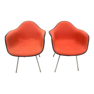 Vintage Herman Miller Fiberglass Orange Upholstered Arm Shell Chairs- a Pair For Sale