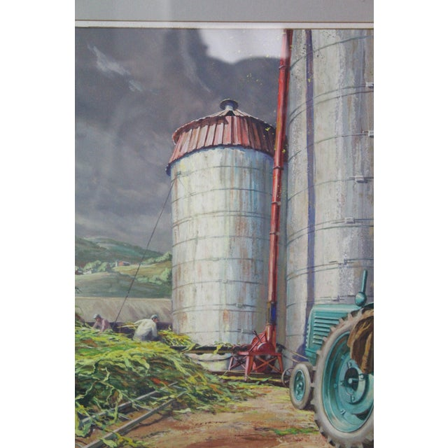 Paint Caddell Farm Silo Gouche Scene Painting For Sale - Image 7 of 8