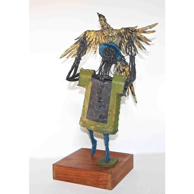 1960s Abstract Bob Fowler Metal Art Work Sculpture of Man Holding Eagle For Sale - Image 10 of 11