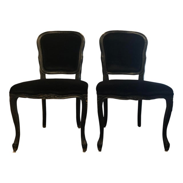Traditional French Black Velvet Side Chairs - a Pair For Sale